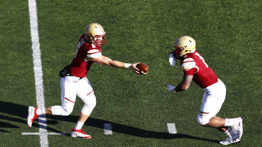 AJ Dillon (2) ran for 178 yards and one touchdown in Boston College's win over Pitt.