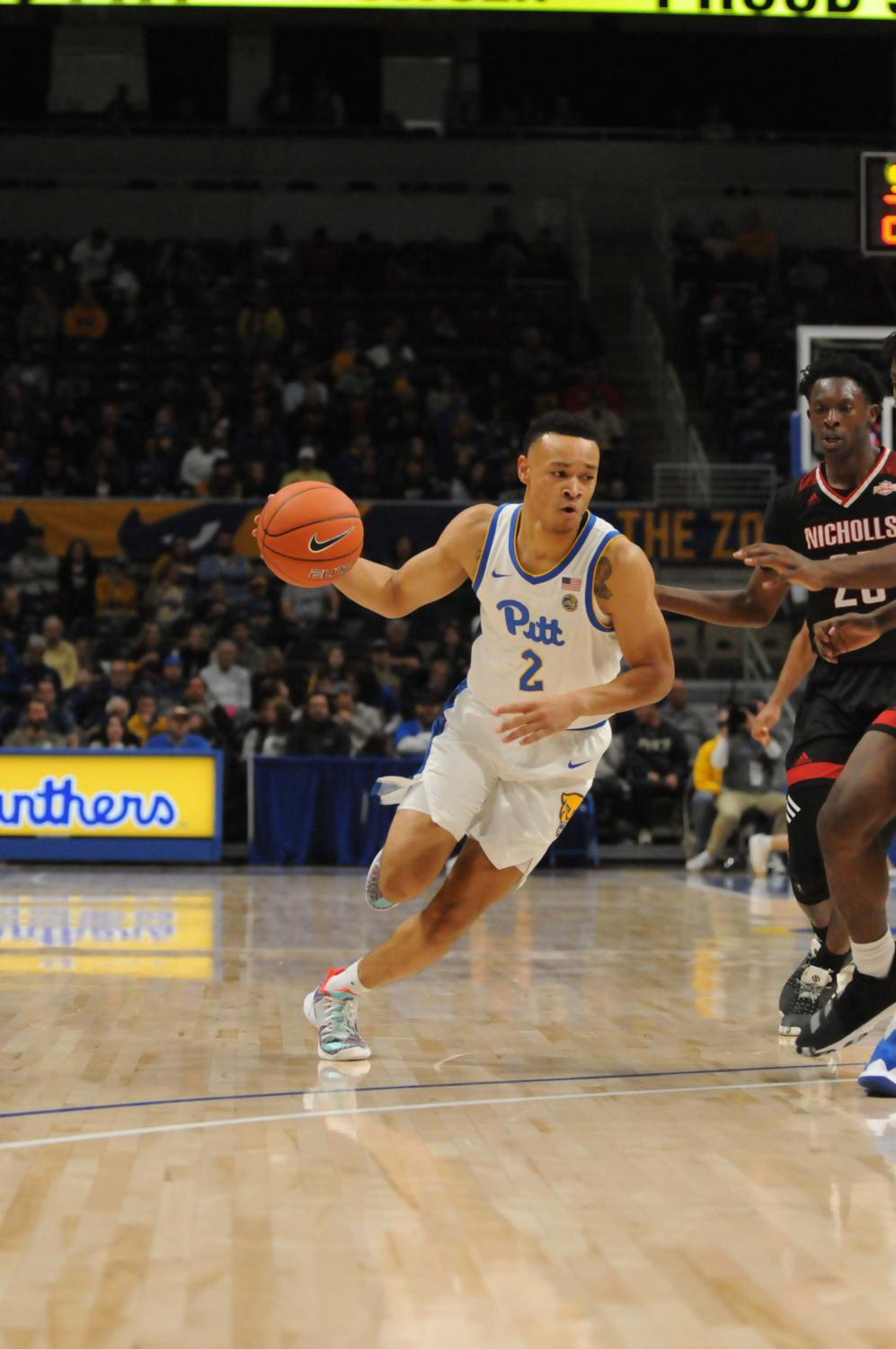 Trey McGowens, pictured here against Nicholls State, led Pitt with 25 points against Robert Morris University.