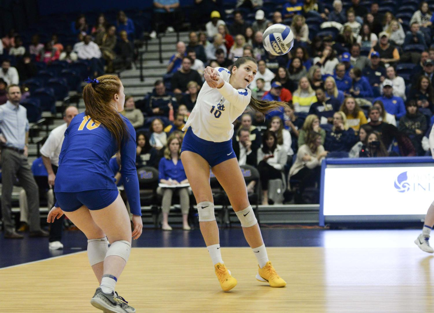 Zoi Faki (10) returns the ball. Pitt volleyball swept Duke on Sunday and earned its best ACC start ever.