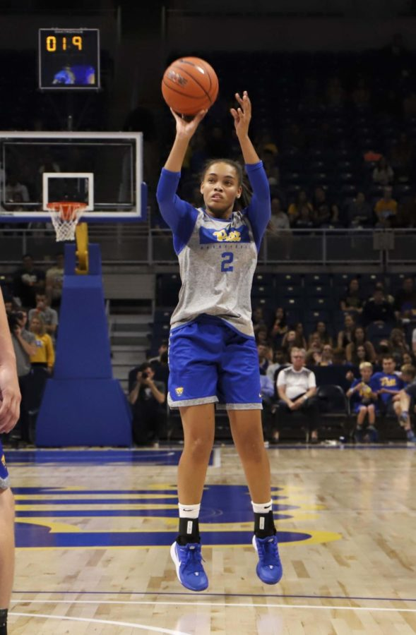 Fifth year guard Aysia Bugg (2), pictured here at Blue and Gold Madness, was Pitt's second-leading scorer against UCF with 17 points.