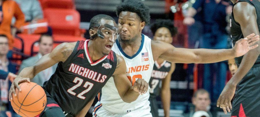 Nicholls+State+guard+Dexter+McClanahan+dribbles+the+ball+during+Tuesday+night%27s+game+against+Illinois.+