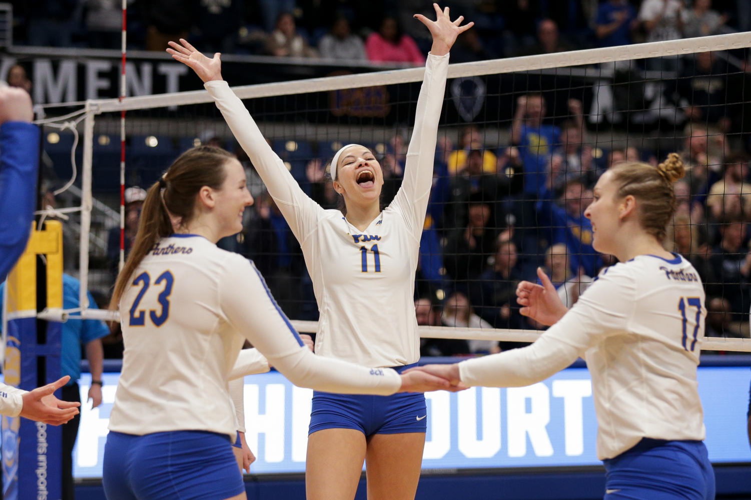 Sophomore middle blocker Sabrina Starks celebrates after beating Howard in the first round of the NCAA volleyball tournament.