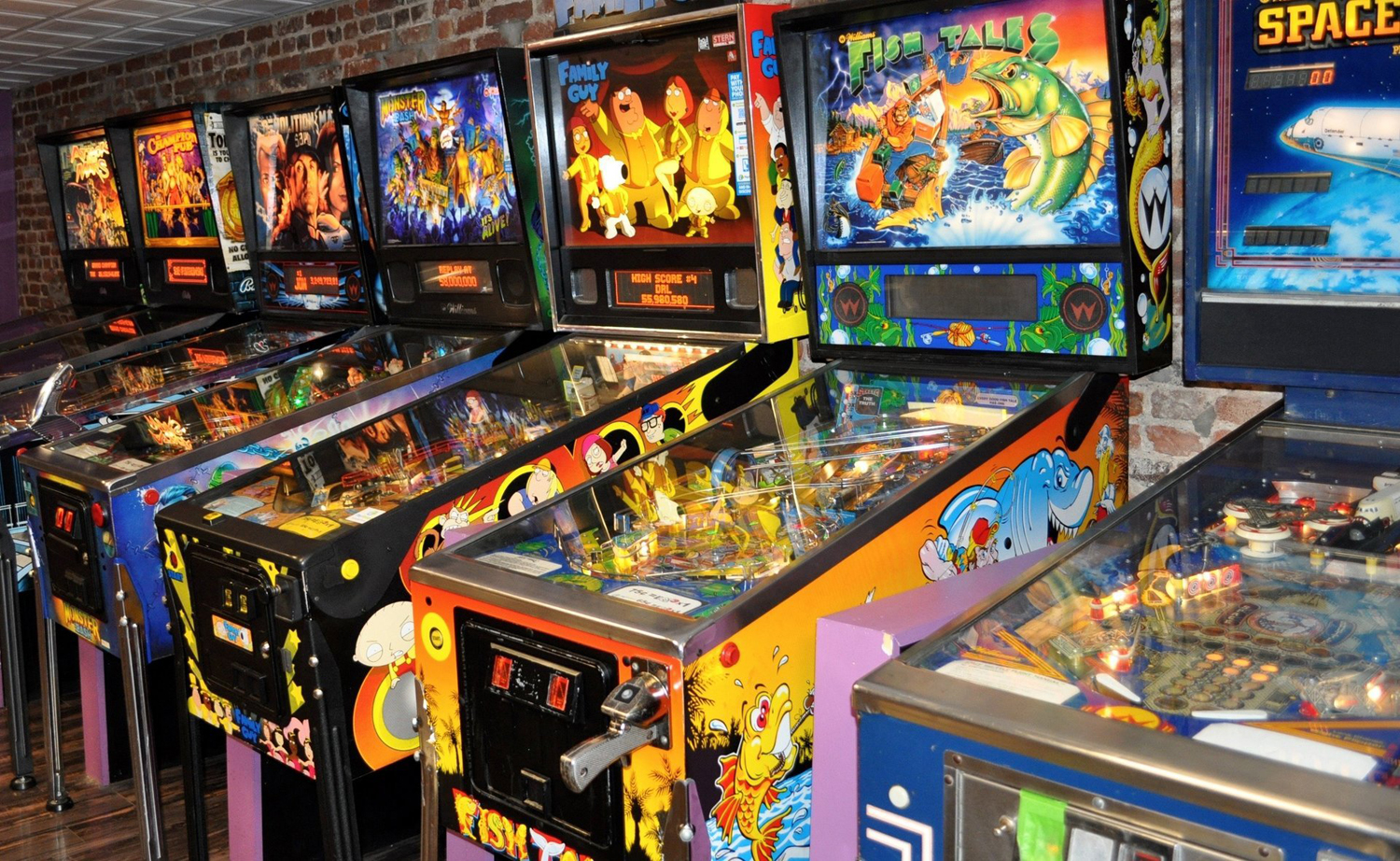 The Kickback Pinball Cafe in Lawrenceville features an assortment of more than 20 pinball machines for visitors to play.