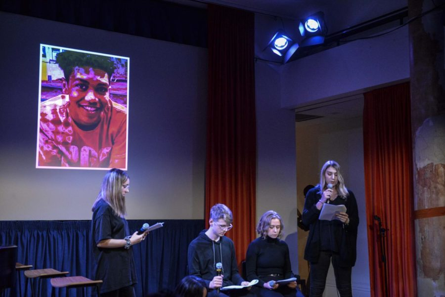 Students+perform+a+collaborative+poem+about+the+shooting+of+Antwon+Rose+written+by+inside+students.++