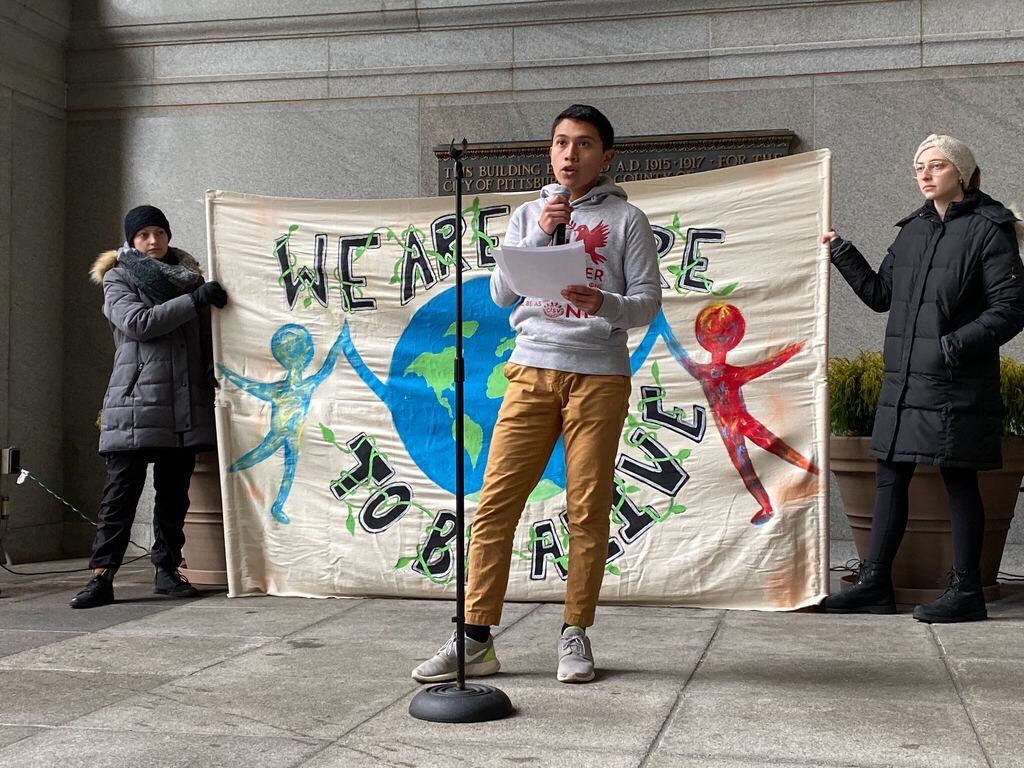 High schooler Benjamin Gutschow said at Friday's climate strike that young people need to demand more from their government.