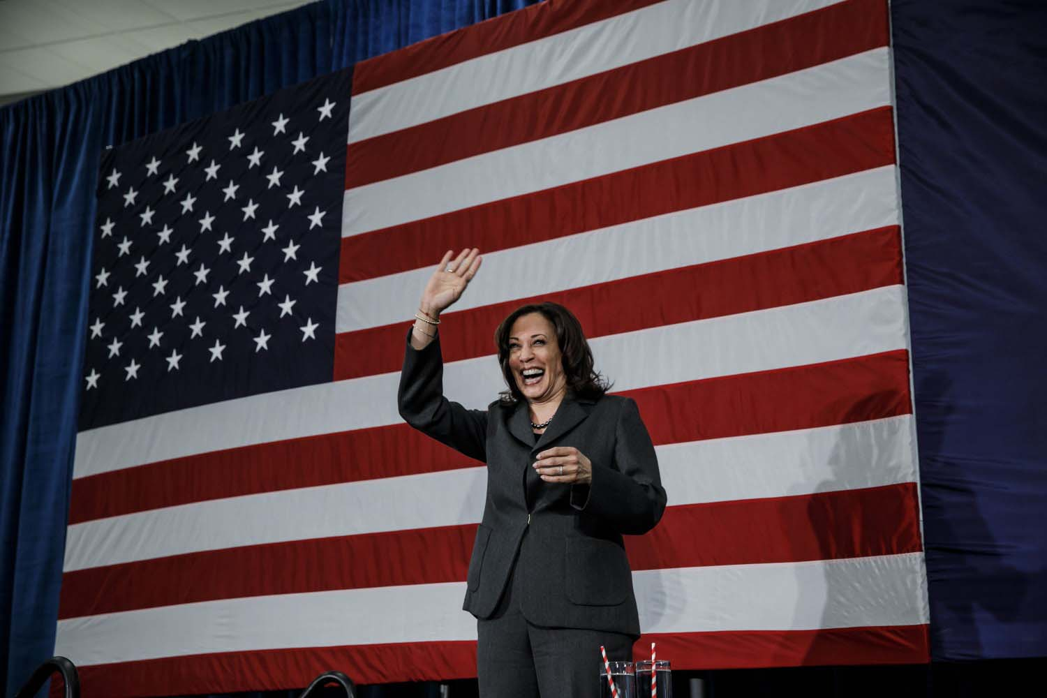 Sen. Kamala Harris, D-Calif., greets the crowd at a campaign rally at the FFA Enrichment Center in Ankeny, Iowa, on Feb. 23.