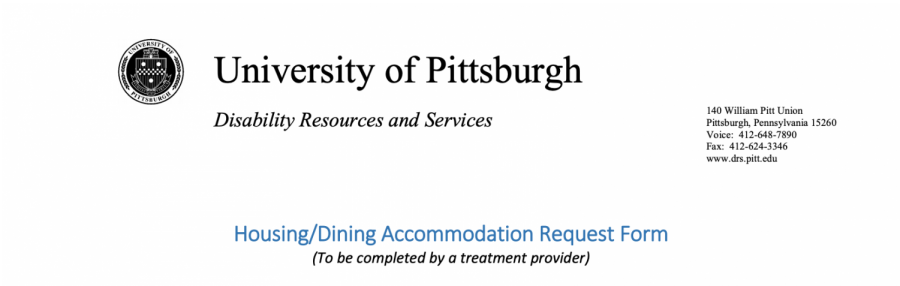 Pitt's Housing/Dining Accommodation Form.