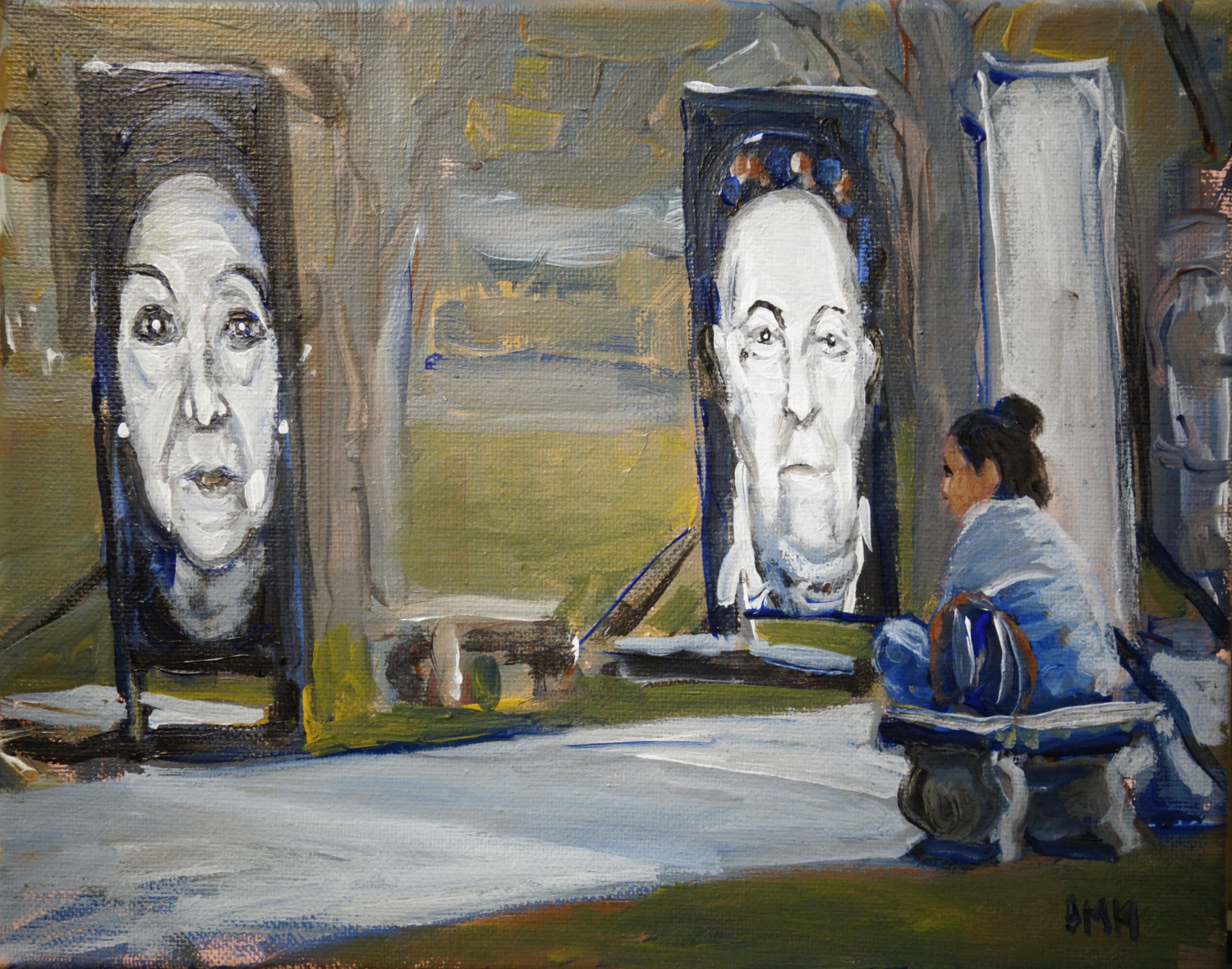 """Adam Maeroff's painting """"Cloudy with a Chance of Learning"""" shows a visitor to the """"Lest We Forget"""" exhibition that was on display on the Cathedral of Learning lawn last fall."""
