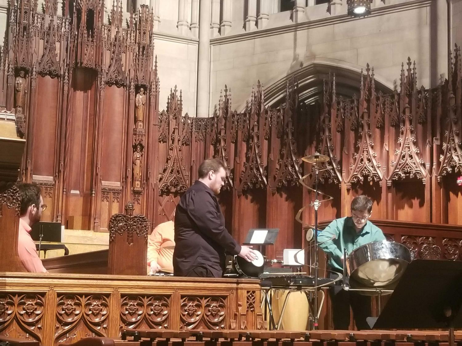 The Slippery Rock University Percussion Ensemble combined Taiwanese folk music, Radiohead and contemporary a cappella at its performance at Heinz Chapel on Sunday.