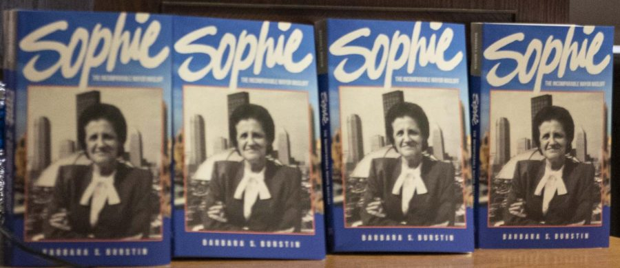 """Copies of """"Sophie: The Incomparable Mayor Masloff,"""" are displayed at Barbara Burstin's book launch Wednesday in the Cathedral."""