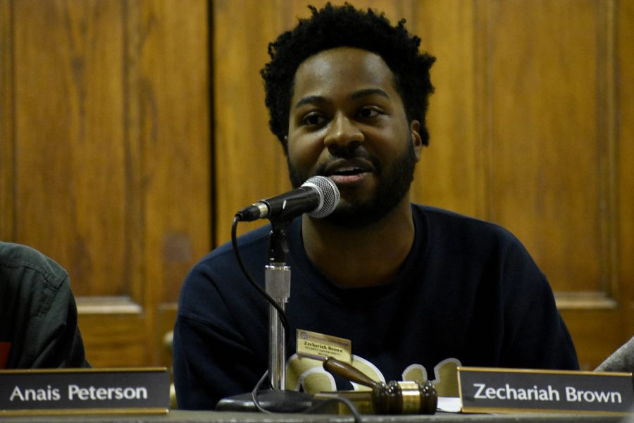 SGB President Zechariah Brown announces the resignation of SGB's judicial chair Grace Nelson during his opening remarks the first weekly SGB meeting of the year on Tuesday evening.