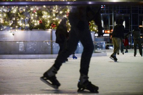 The MassMutual ice rink is constructed at PPG Palace every year to last until March. .