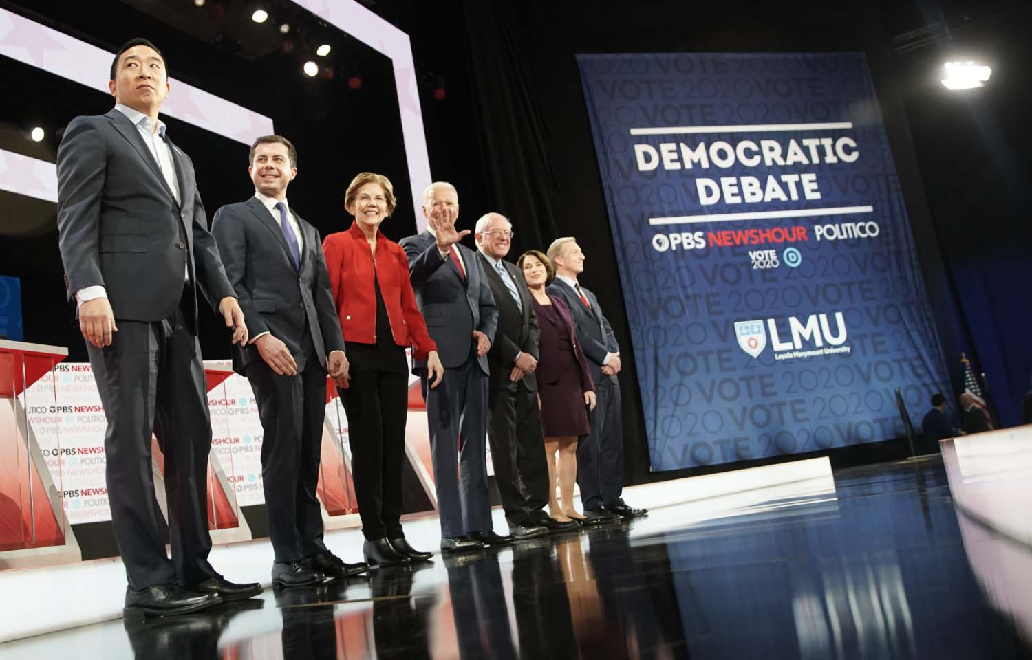 Democratic presidential hopefuls participate in the sixth Democratic primary debate of the 2020 presidential campaign season co-hosted by PBS NewsHour and Politico at Loyola Marymount University in Los Angeles on Dec. 19, 2019.
