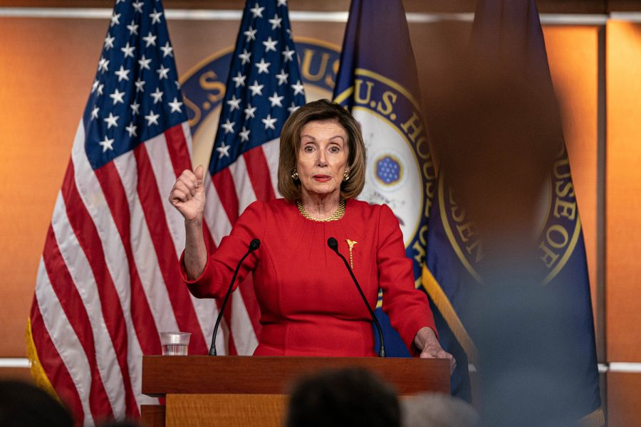 Speaker of the U.S. House of Representatives Nancy Pelosi, D-Calif., speaks on Dec. 19, 2019, in Washington, D.C., during a weekly news conference.