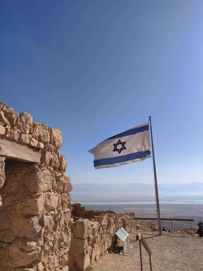 The Israeli flag at the top of Masada.