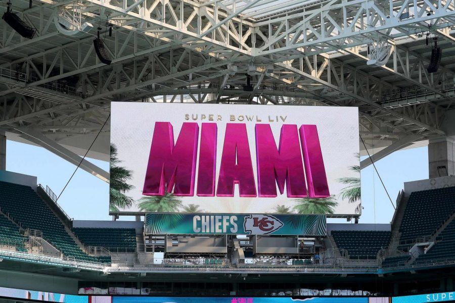 Hard Rock Stadium in is readied in anticipation of Sunday's Super Bowl, featuring the Kansas City Chiefs against the San Francisco 49ers.