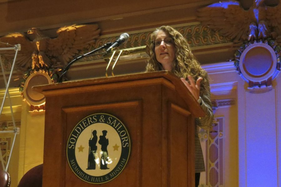 """Evelyn Piazza, mother of hazing victim Timothy Piazza, speaks about the dangers of hazing and the toll it has had on her family at Monday evening's """"Turning Tragedy into Progress"""" at Soldiers and Sailors Memorial Hall."""
