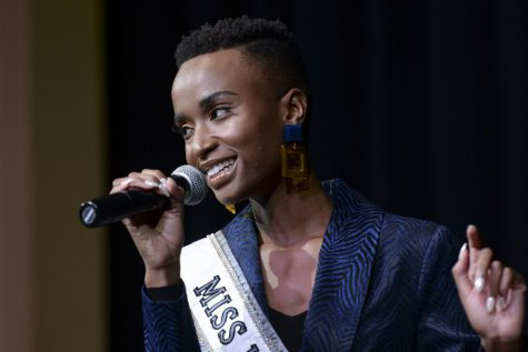 "Zozibini Tunzi, winner of Miss Universe 2019, speaks about beauty standards set by the beauty industry during Pitt Program Council's ""An Evening with Miss Universe"" on Monday evening."