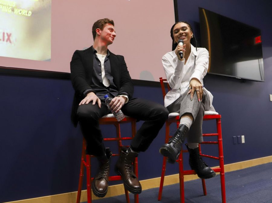 "Sofia Bryant (right) and Richard Ellis (left), actors from the upcoming Netflix series ""I Am Not Okay With This,"" spoke to students Wednesday about their experiences with the production of the show and in the film industry in an event hosted by The Pitt Film and Media Studies program."