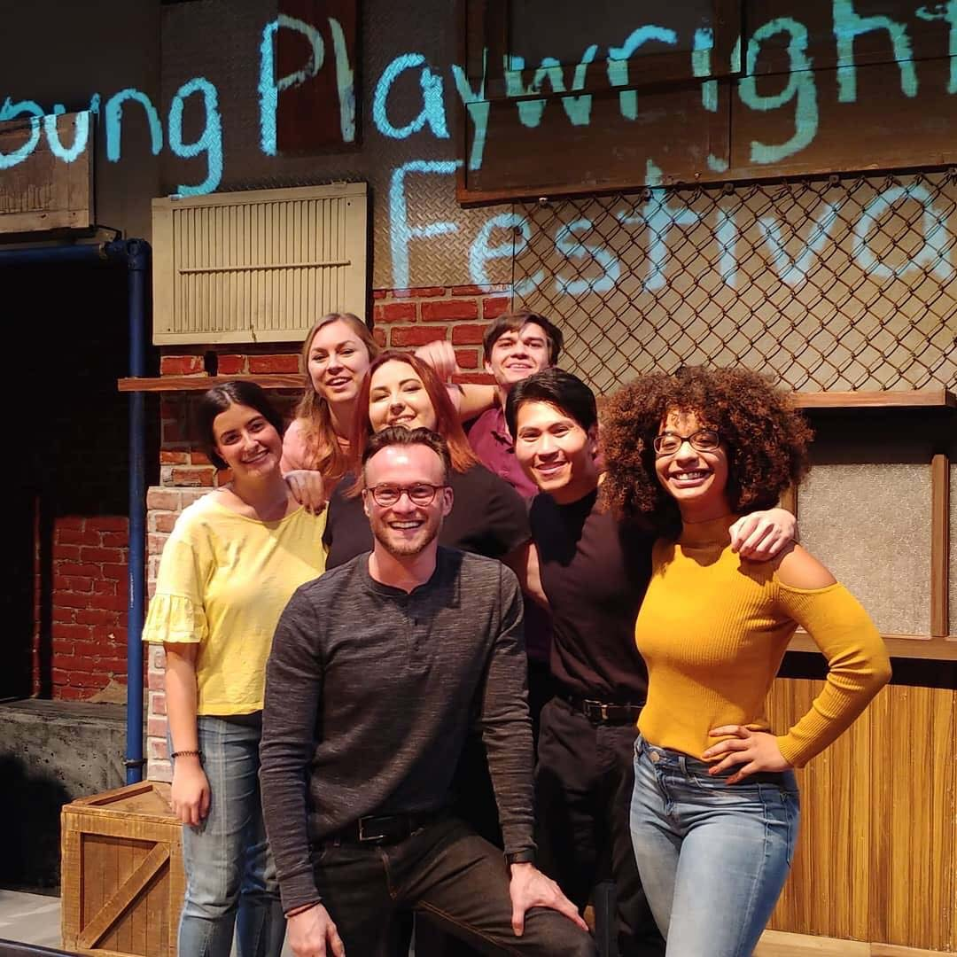Sean Cook poses with Pitt students at the EQT Young Playwrights Festival at the City Theatre, where he cast all Pitt students and had a staged reading at a professional equity theater.
