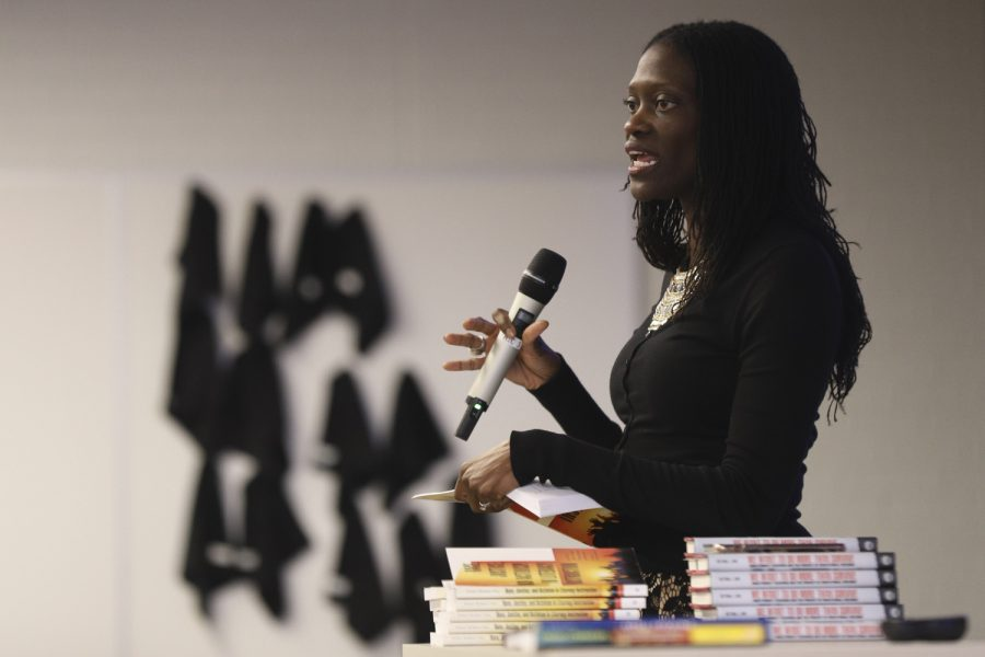 "Valerie Kinloch, dean of Pitt's School of Education, discusses the release of her book, ""Race, Justice, and Activism in Literacy Instruction,"" on Tuesday afternoon."