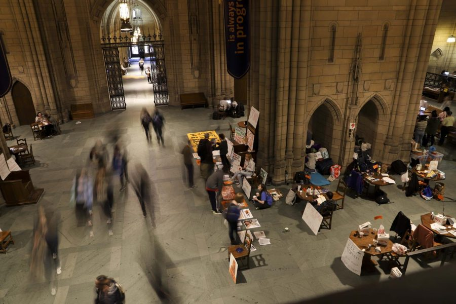 Dozens of students who are pushing Pitt to divest its endowment from fossil fuels have been staying overnight during the Fossil Free Pitt Coalition's 24/7 occupation of the Cathedral of Learning.