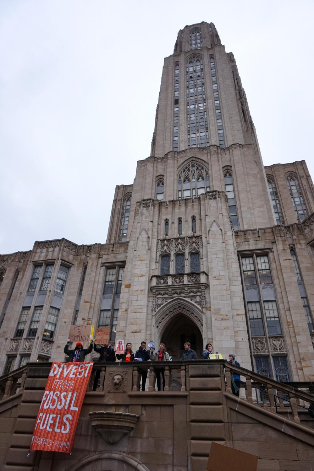 As a part of Fossil Fuel Divestment Day, a nationwide event that, according to the organizers, only marks the beginning of the 'mass escalation' of the divestment movement in 2020, Fossil Free Pitt held a rally outside the Cathedral of Learning Thursday.