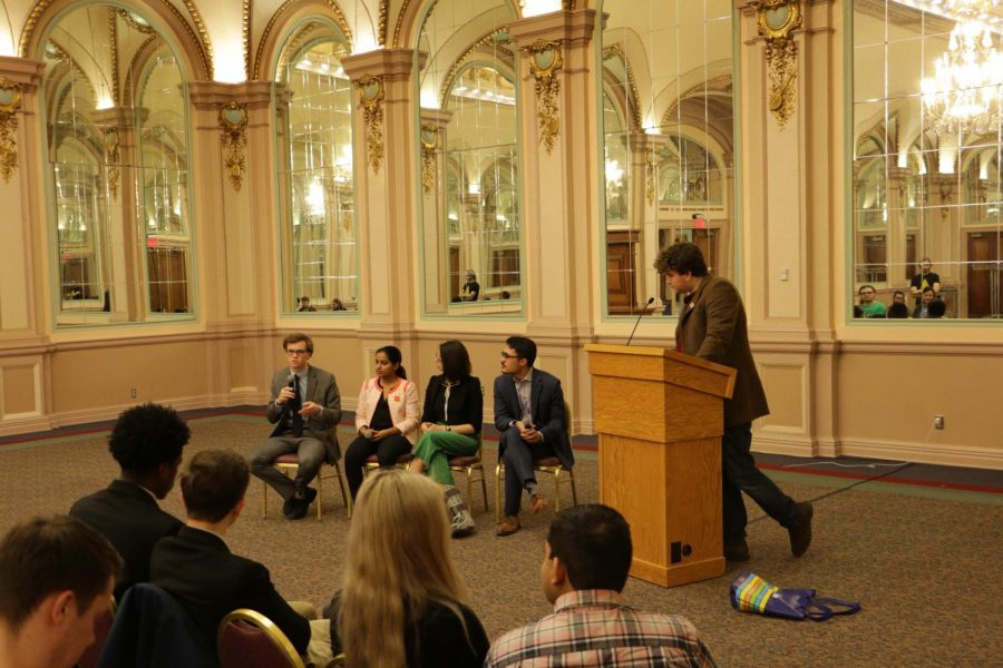 SGB election slates, in addition to one single candidate, met on Wednesday night to hold a Meet the Candidates event hosted by Andrew Dow, a senior communication major. SGB voting will begin Feb. 25 at 8am.
