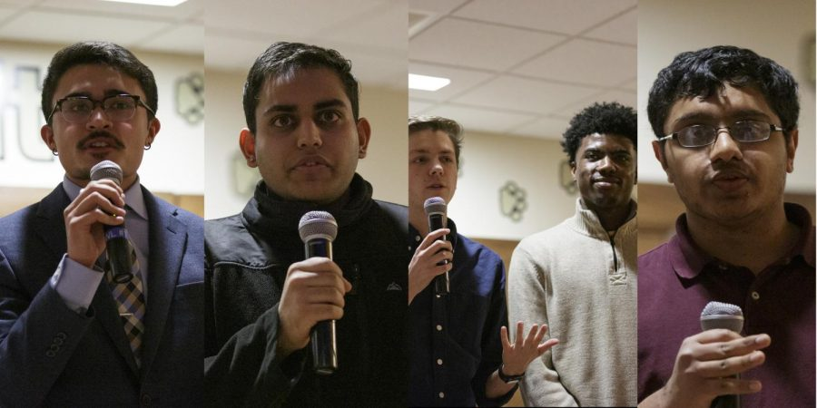 (From left) Voices slate's Eric Macadangdang, Your slate's Ravi Gandhi, Launch slate's Tyler Viljaste and Cedric Humphrey, and independent Aman Reddy.