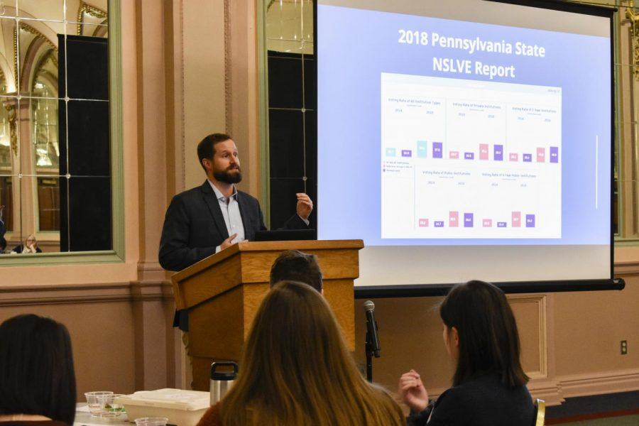 Assistant director of campus partnerships for the ALL IN Campus Democracy Challenge Ryan Drysdale gives remarks at the Western Pennsylvania Student Voting Summit in the William Pitt Union Saturday afternoon.