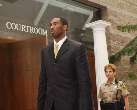 Los Angeles Lakers basketball player Kobe Bryant leaves the courtroom at the Eagle County Justice Center April 27, 2004, in Eagle, Colorado.