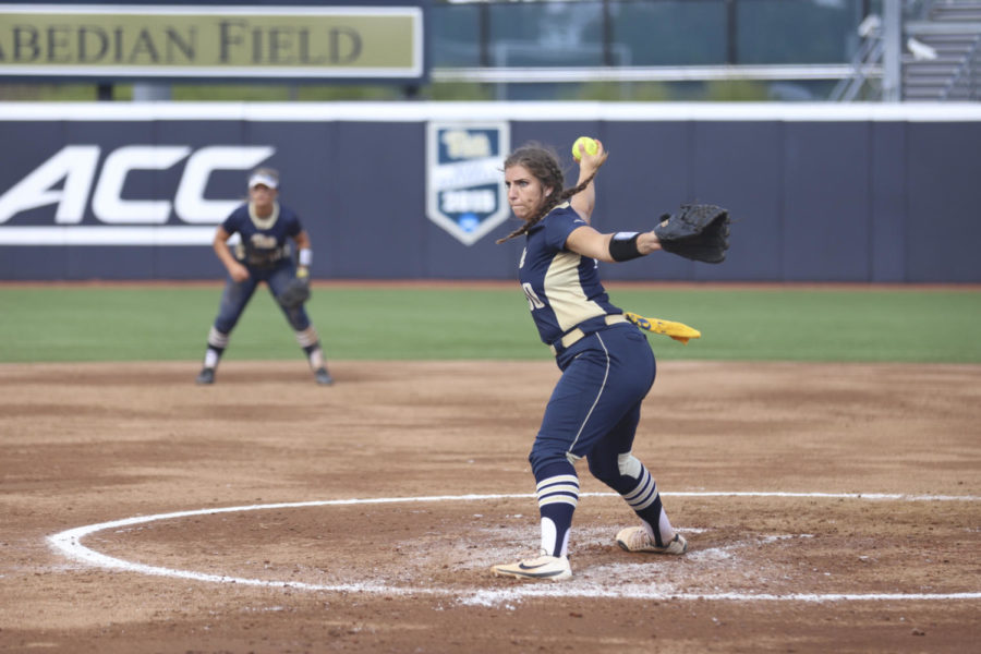 Junior Brittany Knight pitches. Pitt softball looks to improve after finishing last in the ACC Coastal in 2019.