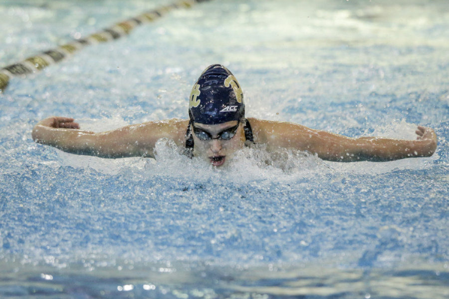 Senior swimmer Valerie Daigneault finished 11th in the 200-yard individual medley with a time of 1:58.33 at the 2020 ACC Championships.