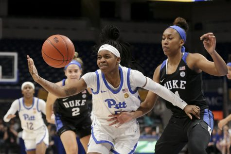 First-year guard Amber Brown (5) loses control of the ball during Pitt's 73-56 loss to Duke on Thursday.