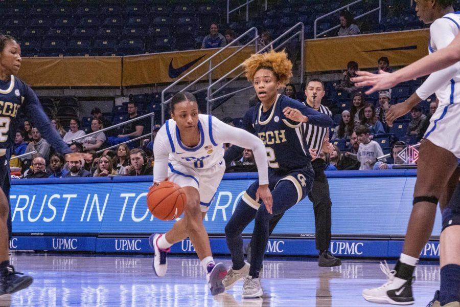 Pitt+women%E2%80%99s+basketball+fell+to+Georgia+Tech+at+the+Petersen+Events+Center+Thursday+night.+