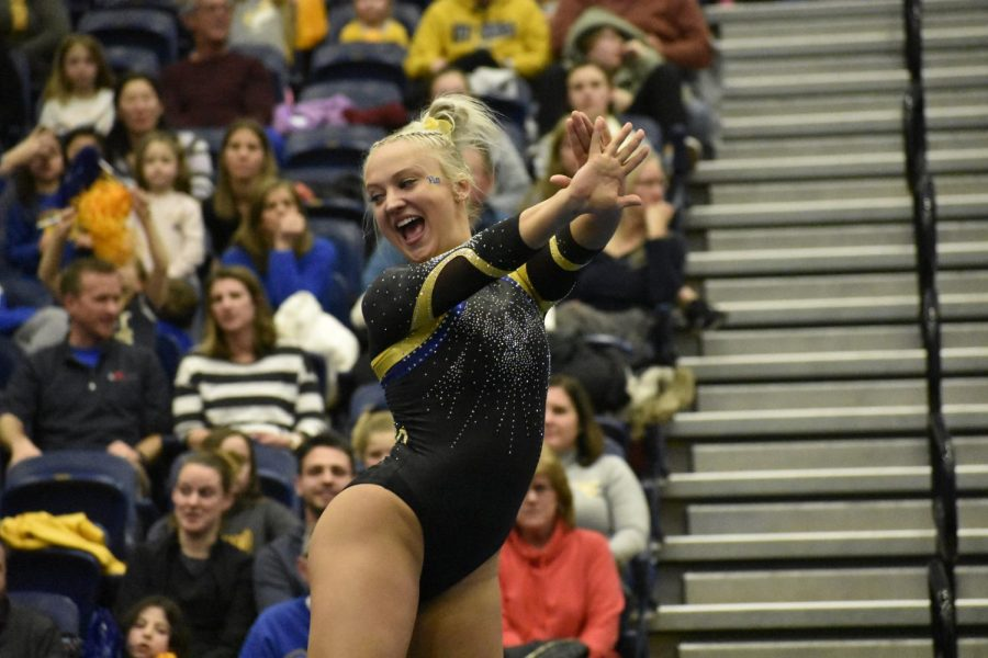 Senior Alecia Petrikis won floor exercise once again Friday with a 9.850.