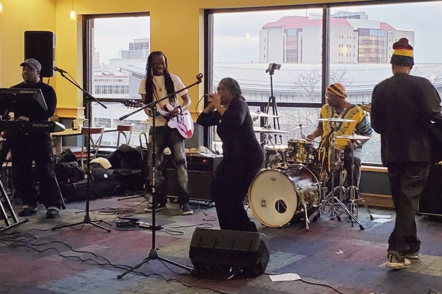 The Flow Band, one of Pittsburgh's oldest reggae bands, performed at the Perch on Thursday night as a part of the Perch's Black History Month dinner.