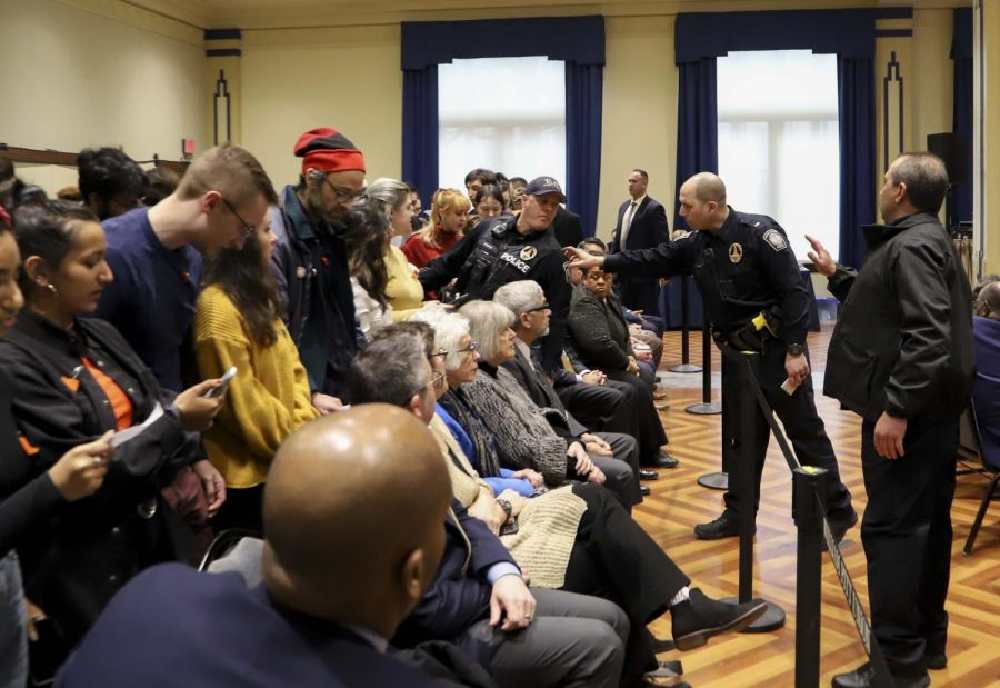 Photos: Fossil Free Pitt Coalition occupation and presence at Board of Trustees meeting