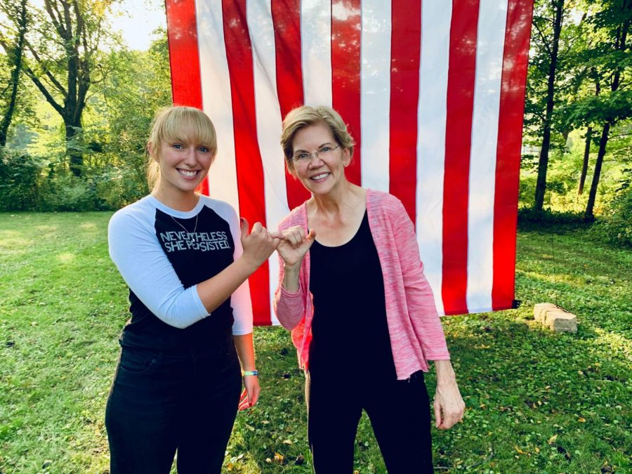 Pitt graduate and president of Student Government Board during the 2018-19 academic year Maggie Kennedy poses with ex-Democratic presidential candidate Elizabeth Warren.