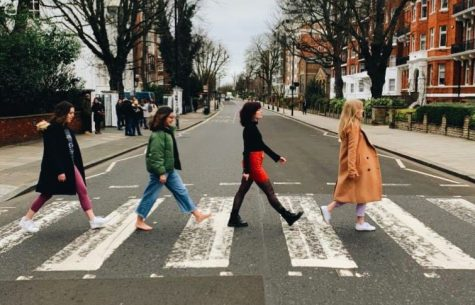Remy Samuels poses with friends at Abbey Road.