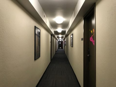 An empty hallway in the Forbes-Craig apartment building.