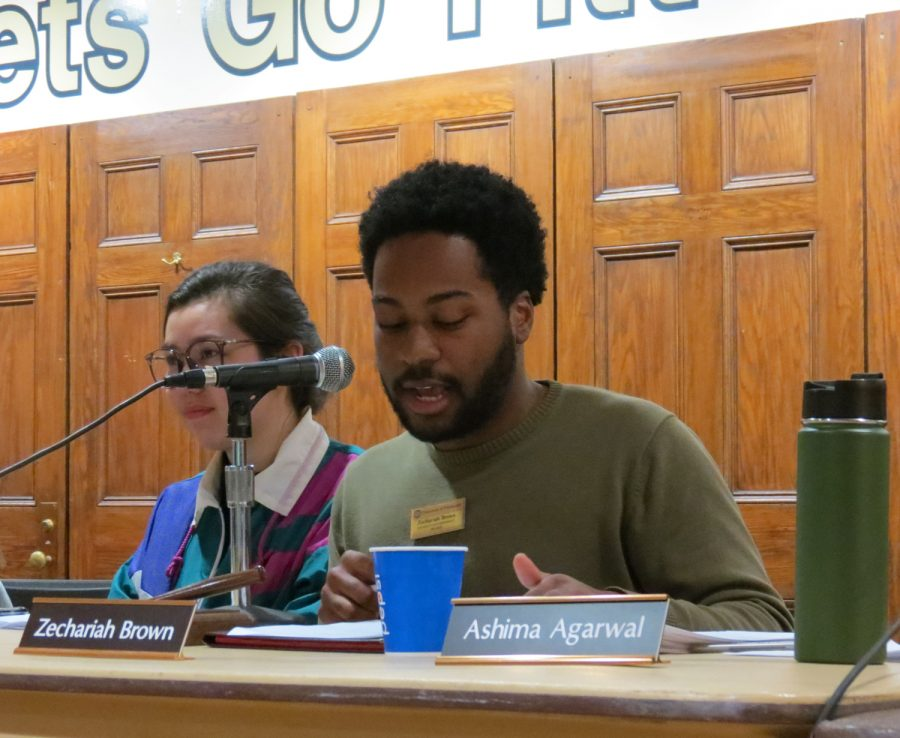 SGB president Zechariah Brown discusses the appointment of Varsha Suresh as SGB's new diversity and inclusion committee chair at Tuesday's weekly meeting.