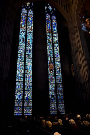 "Heinz Chapel hosted ""Women in Windows"" yesterday, a small tour describing women's depictions in stained glass windows in the chapel to honor Women's History Month."