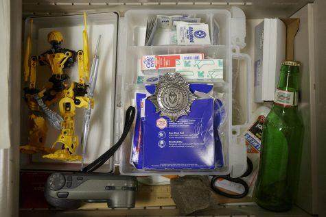 Clutter in a drawer.
