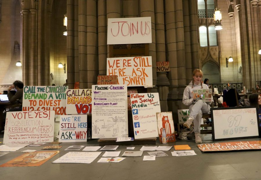 Fossil Free Pitt Coalition occupied the Cathedral because they wanted a divestment vote at Friday's Board of Trustees meeting, but instead, the Board voted to establish an SRI process, elongating the process.