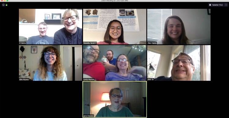 Sarah Snavely, a junior mechanical engineering major, celebrates her 21st birthday with a family Zoom call.