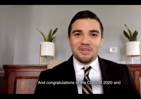 Mark Novales speaking during the online 2020 commencement.