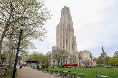 The Cathedral of Learning watches over an empty Pitt campus.