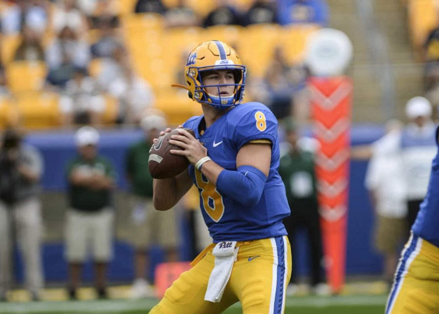 Kenny+Pickett+threw+for+361+yards+and+three+touchdowns+in+Pitt%27s+bowl+victory+over+Eastern+Michigan.