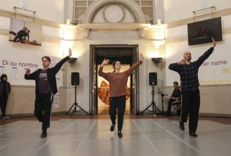 Members of Attack Theatre, a Pittsburgh-based dance company, begin a February open rehearsal in the Frick Fine Arts University Gallery. The event is sponsored by Pitt's Year of Creativity and is meant to showcase the process of dancemaking.